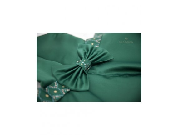 Rochita Green Arabic Dress pictata manual 3 si 4 ani