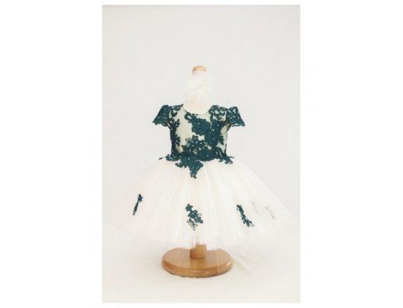 Rochita Luxury Green Lace 6 pana la 9 luni