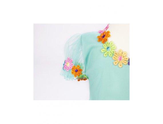 Rochita Aquamarine Flowers-Handmade 2 pana la 3 ani