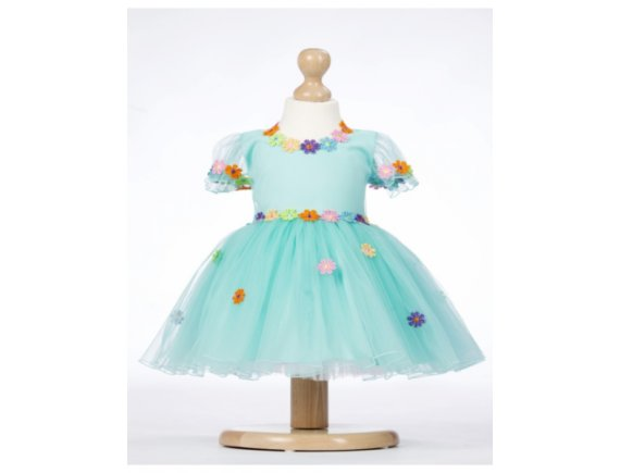 Rochita Aquamarine Flowers-Handmade 4 ani pana la 5 ani